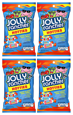 911355 4 x 184g BAGS JOLLY RANCHERS HOTTIES! SWEET AND SPICY CANDY FROM THE USA!