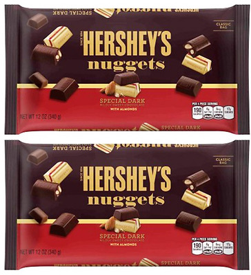911345 2 x 340g BAGS HERSHEY SPECIAL DARK CHOCOLATE NUGGETS WITH ALMONDS! USA