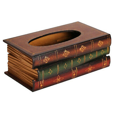 7Tissue Box Pumping Paper Cover Retro Style Book Shape Napkin Holder Case M6J4