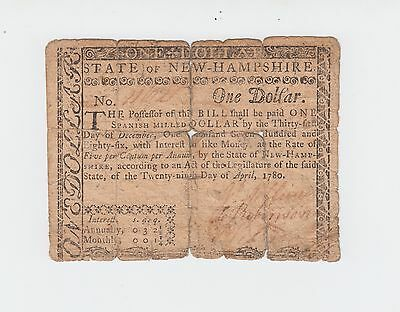 Colonial Currency - New Hampshire 1780, One Dollar $1 Note paper money USA