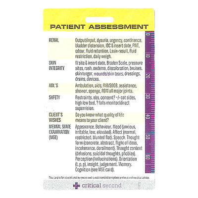 Patient Assessment Card - Nurse|Doctor Drug Cards