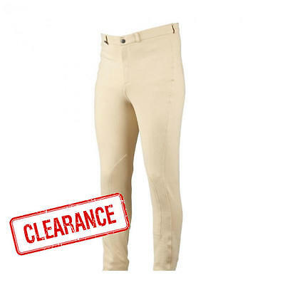 Classic Fit Mens Beige Jodhpur Breeches Stretchy woven fabric w/ Self Knee Patch