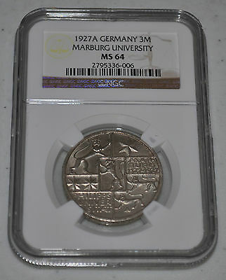 1927A Germany 3 German Mark - Marburg University - NGC MS64