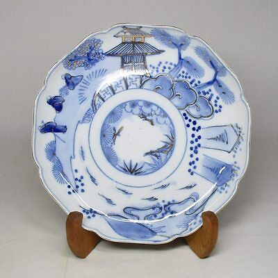 A314: Japanese old IMARI porcelain plate with good blue-and-white tone