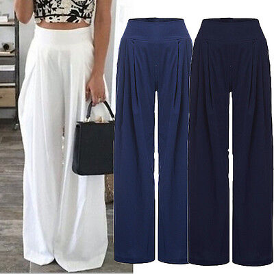 Women Loose High Waist Wide Leg Flared Pant Trouser Palazzo Legging PLUS SIZE