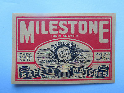 MILESTONE MATCHES MATCH BOX LABEL c1950s NORMAL SIZE FOREIGN MADE