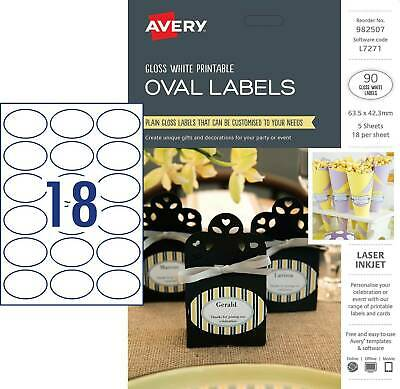 Avery Printable Oval Labels L7271 63.5 x 42.3mm Gloss White 90 Pack