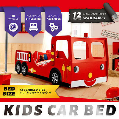 Red Kids Racing Car Children Bedroom Furniture Funky Fire Engine Bed Single Size