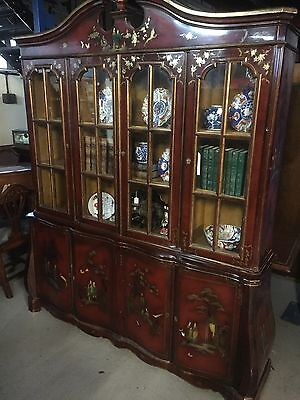 Vintage Chinese Red Lacquer Four Door Display/bookcase
