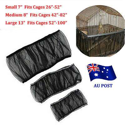 New Nylon Mesh Pet Bird Cage Seed Catcher Guard Cover Shell Skirt Decoration EA
