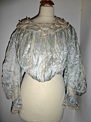 Antique Vintage Victorian Silk And Lace Blouse Top Leg Of Mutton Sleeves Uk 8