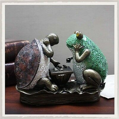 Art Deco Frog & Tortoise Playing Chess Tiffany Table Lamp Glass Shade