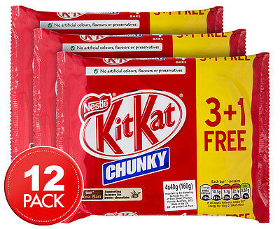 3 x Nestlé KitKat Chunky Chocolate Wafer Bars 4pk 160g