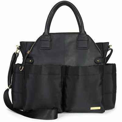Skip Hop Chelsea Downtown Chic Baby Diaper Satchel w/ Changing Pad Black NEW