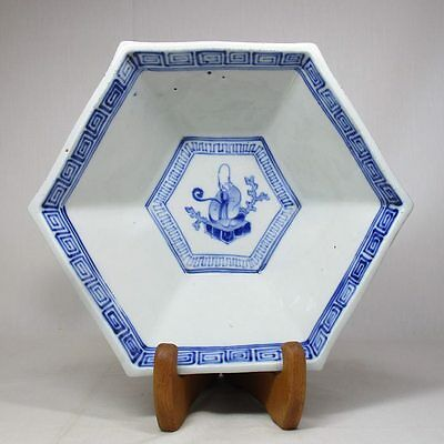 A396: Japanese old IMARI blue-and-white porcelain bowl with good painting