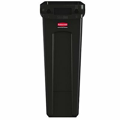 23 Gallon Rubber Commercial Slim Outdoor Quality Durable Trash Can Dustbin Black