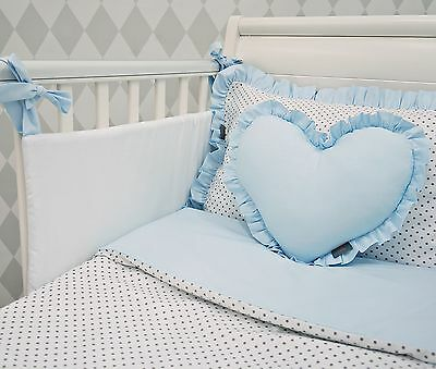 NEW EXCLUSIVE & LUXURY BABY BOY BEDDING SET -white & grey dot + blue for COT/BED