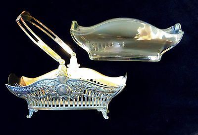 Antique British EP Silver and Etched Glass Grape Basket Bride Swing Handle Fruit
