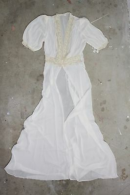 Vintage Sheer Robe Draped White Lace 60's Lingerie Jacket Top S