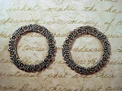 Oxidized Brass Floral Wreath Stampings (2) - BORAT139 Jewelry Finding