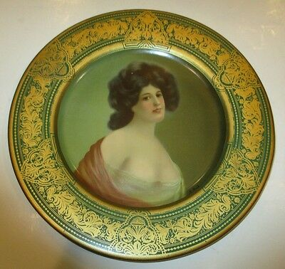 Risque Antique Metalware Signed Vienna Art Plate With Revealing Buxom Beauty C