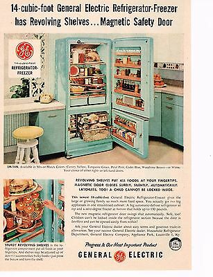 Vintage 1956 Appliance Ad:GENERAL ELECTRIC REFRIGERATOR-FREEZER, Turquoise Green