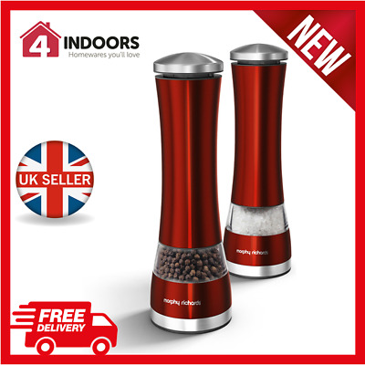 BRAND NEW: Morphy Richards 974221 Accents Red Electronic Salt & Pepper Mill
