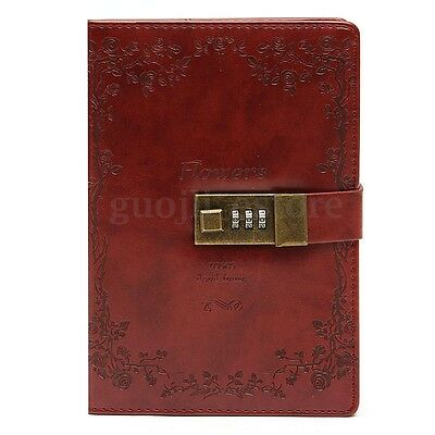 AU B6 Leather Notebook Password Lock Diary Paper Schedule Planner Red Rose Blank