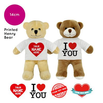 Personalised Name Valentines Day Henry Soft Toy Teddy Bear Gifts For Him / Her