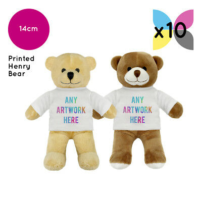10 Personalised Henry Soft Toy Teddy Bears Promotional Gifts Your Logo Printed!