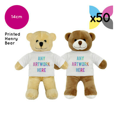 50 Personalised Promotional Soft Toy Henry Teddy Bears Gifts Your Logo Printed!