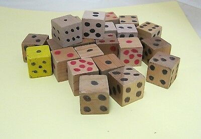 Lot of 24 Handmade Carved Wood Extra Big Dice 1 Inch Square Silly & Fun!