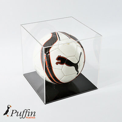Perspex Football Display Case - Black Base - Wall Mounted