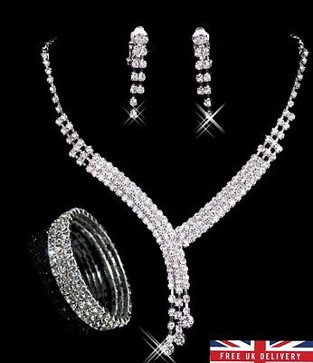 Shiny Crystal Wedding Jewelry Bridal Necklace And Earrings set