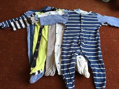 Bundle Of Boys Baby Sleepsuits 0-3 Months