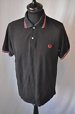 Vintage Fred Perry black polo shirt in size XL mod casual indie