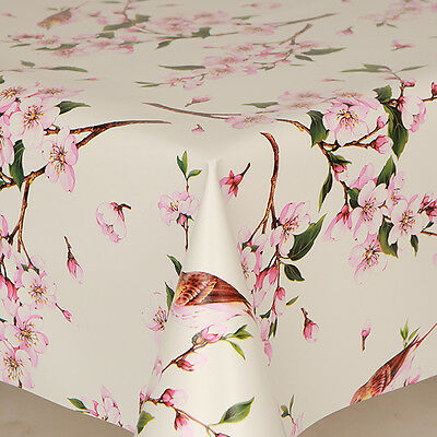 91cm PVC Tablecloth Orchid 36 Round Pretty Flowers Floral Bulbs Wipe Clean Pink Off White Cream Green Vinyl // Plastic Table Cloth approx.
