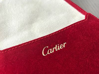 CARTIER Red Cream Suede Watch & Jewelry Pouch NEW