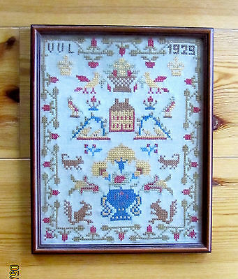 "SAMPLER, FRAMED, ANTIQUE, 11"" x 14"", COLONIAL HOUSE, GREAT DETAILS"