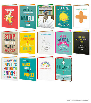 Get Well Soon Feel Better Greeting Cards Funny Comedy Humour Cheeky Novelty Joke