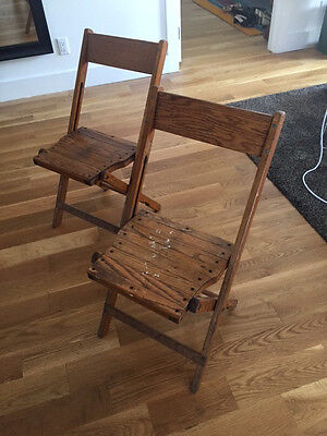 Folding Chair wooden brown used shabby vintage 50s 60s