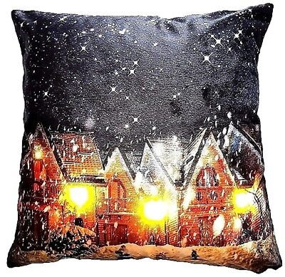 Christmas Led Lights Snow Village Scene Luxury Velvet Cushion Cover £6.90 Each