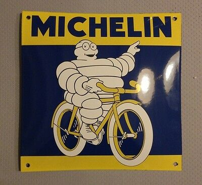 French enameled bombed arched MICHELIN sign metal vintage 1307171