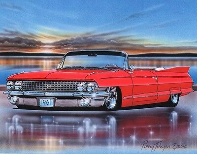 1961 Cadillac Convertible Classic Car Art Print Red 11x14