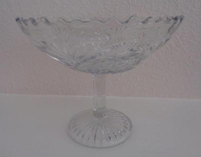 """CLEAR GLASS COMPOTE """"Large with Pineapple, Arches and Fans Design"""""""