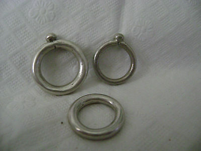 3 VTG Ethiopian Coin Silver Wedding Rings-2 w/Bead Decoration/1 Plain