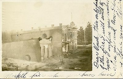 Huntington, IN Downtown Fire in 1907 Real Photo Postcard
