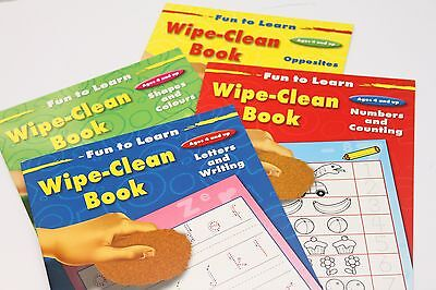Childrens Educational 'wipe-Clean' Books. Numbers Letters Writing Shapes Colours