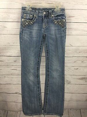 MISS ME Girls Boot Cut RHINESTONE Distressed Embroidered Jeans Size 14         H