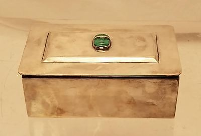 Sterling Jewelry Box With Jade Stone